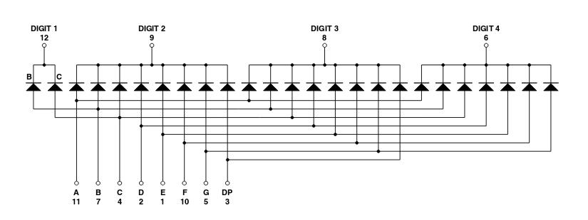 cuatro displays de 7 segmentos