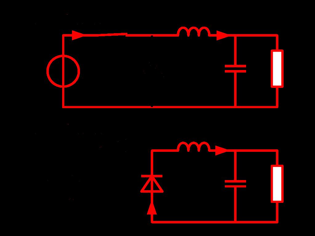Posiciones del interruptor del circuito convertidor Buck